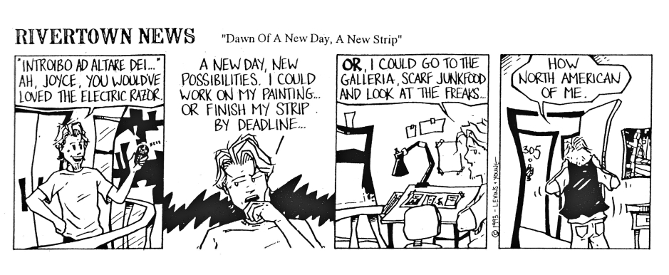 """Because what comic strip doesn't benefit from a reference to """"Ulysses"""" right out of the gate? :) This was the first strip Tim ever drew and the only one in which Dex isn't wearing his trademark scarf. The Galleria mall is now called the Citiplaza."""